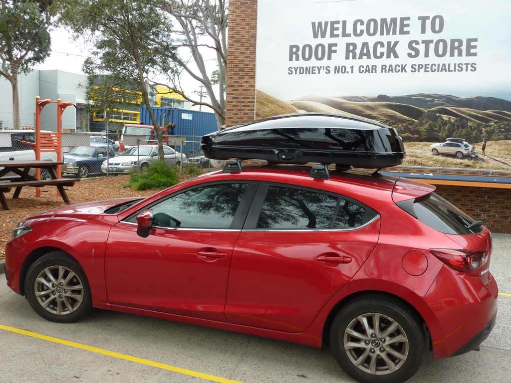 Mazda 3 Whispbar WB751B roof box.