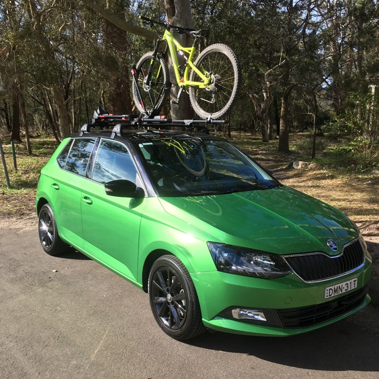Skoda Fabia with twin Yakima Frontloaders