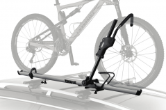 An up-right, roof mounted carrier that doesn't touch your bicycle frame